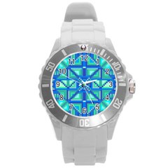 Grid Geometric Pattern Colorful Round Plastic Sport Watch (l)