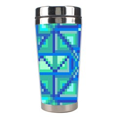 Grid Geometric Pattern Colorful Stainless Steel Travel Tumblers by BangZart