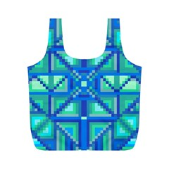 Grid Geometric Pattern Colorful Full Print Recycle Bags (m)