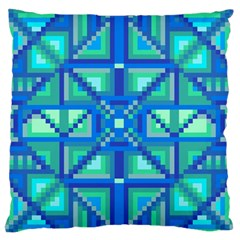 Grid Geometric Pattern Colorful Large Flano Cushion Case (one Side) by BangZart