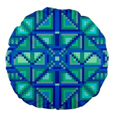 Grid Geometric Pattern Colorful Large 18  Premium Flano Round Cushions by BangZart
