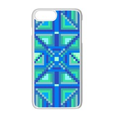 Grid Geometric Pattern Colorful Apple Iphone 7 Plus White Seamless Case by BangZart