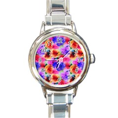 Floral Pattern Background Seamless Round Italian Charm Watch