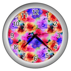 Floral Pattern Background Seamless Wall Clocks (silver)  by BangZart