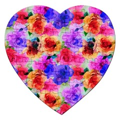 Floral Pattern Background Seamless Jigsaw Puzzle (heart) by BangZart