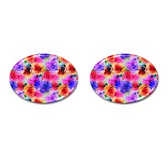Floral Pattern Background Seamless Cufflinks (oval) by BangZart