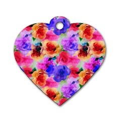 Floral Pattern Background Seamless Dog Tag Heart (two Sides) by BangZart
