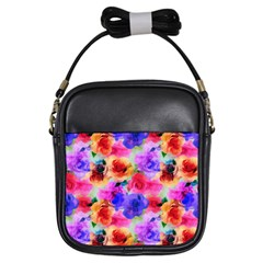 Floral Pattern Background Seamless Girls Sling Bags by BangZart
