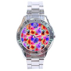 Floral Pattern Background Seamless Stainless Steel Analogue Watch by BangZart
