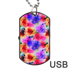 Floral Pattern Background Seamless Dog Tag Usb Flash (two Sides) by BangZart