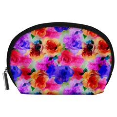 Floral Pattern Background Seamless Accessory Pouches (large)