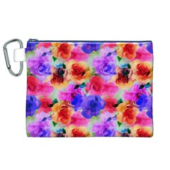 Floral Pattern Background Seamless Canvas Cosmetic Bag (xl)