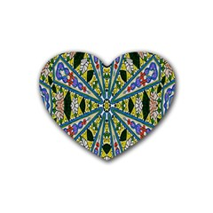 Kaleidoscope Background Rubber Coaster (heart)  by BangZart