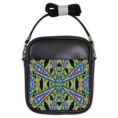 Kaleidoscope Background Girls Sling Bags by BangZart