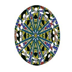 Kaleidoscope Background Oval Filigree Ornament (two Sides)