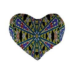 Kaleidoscope Background Standard 16  Premium Flano Heart Shape Cushions by BangZart