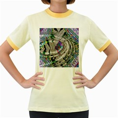 Water Ripple Design Background Wallpaper Of Water Ripples Applied To A Kaleidoscope Pattern Women s Fitted Ringer T Shirts