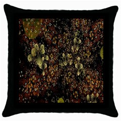 Wallpaper With Fractal Small Flowers Throw Pillow Case (black) by BangZart