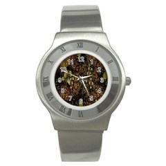 Wallpaper With Fractal Small Flowers Stainless Steel Watch by BangZart