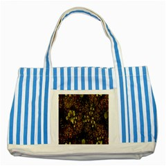 Wallpaper With Fractal Small Flowers Striped Blue Tote Bag by BangZart