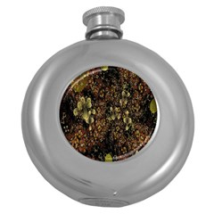 Wallpaper With Fractal Small Flowers Round Hip Flask (5 Oz) by BangZart