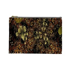 Wallpaper With Fractal Small Flowers Cosmetic Bag (large)