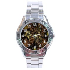 Wallpaper With Fractal Small Flowers Stainless Steel Analogue Watch by BangZart