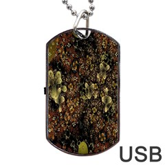 Wallpaper With Fractal Small Flowers Dog Tag Usb Flash (two Sides) by BangZart