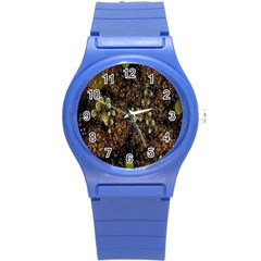 Wallpaper With Fractal Small Flowers Round Plastic Sport Watch (s) by BangZart