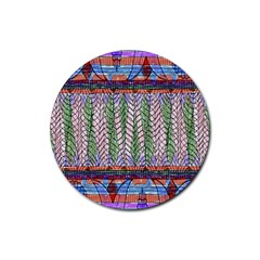 Nature Pattern Background Wallpaper Of Leaves And Flowers Abstract Style Rubber Coaster (round)  by BangZart
