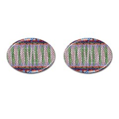 Nature Pattern Background Wallpaper Of Leaves And Flowers Abstract Style Cufflinks (oval) by BangZart