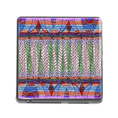 Nature Pattern Background Wallpaper Of Leaves And Flowers Abstract Style Memory Card Reader (square) by BangZart
