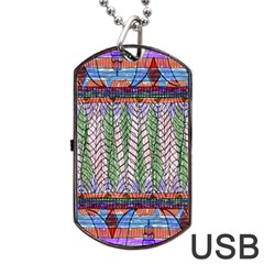 Nature Pattern Background Wallpaper Of Leaves And Flowers Abstract Style Dog Tag Usb Flash (one Side)