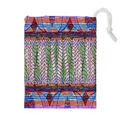 Nature Pattern Background Wallpaper Of Leaves And Flowers Abstract Style Drawstring Pouches (extra Large)