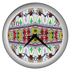 Kaleidoscope Background  Wallpaper Wall Clocks (silver)