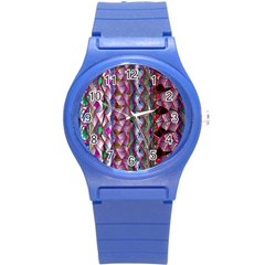 Textured Design Background Pink Wallpaper Of Textured Pattern In Pink Hues Round Plastic Sport Watch (s)