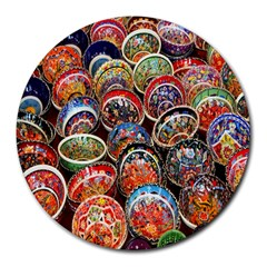 Colorful Oriental Bowls On Local Market In Turkey Round Mousepads by BangZart