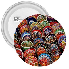 Colorful Oriental Bowls On Local Market In Turkey 3  Buttons