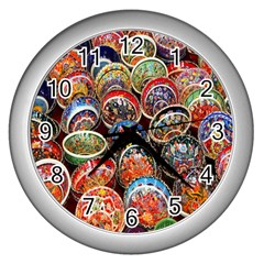 Colorful Oriental Bowls On Local Market In Turkey Wall Clocks (silver)  by BangZart