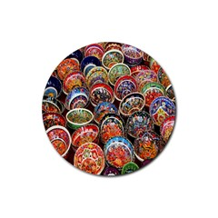 Colorful Oriental Bowls On Local Market In Turkey Rubber Coaster (round)  by BangZart