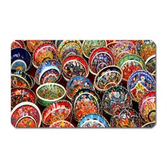 Colorful Oriental Bowls On Local Market In Turkey Magnet (rectangular) by BangZart
