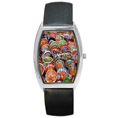 Colorful Oriental Bowls On Local Market In Turkey Barrel Style Metal Watch by BangZart
