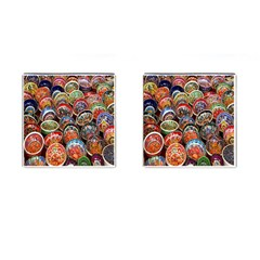 Colorful Oriental Bowls On Local Market In Turkey Cufflinks (square) by BangZart