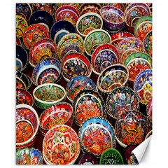 Colorful Oriental Bowls On Local Market In Turkey Canvas 8  X 10