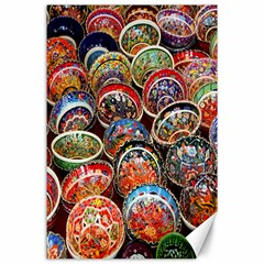 Colorful Oriental Bowls On Local Market In Turkey Canvas 24  X 36  by BangZart