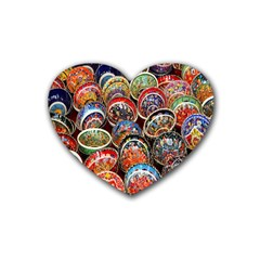 Colorful Oriental Bowls On Local Market In Turkey Rubber Coaster (heart)  by BangZart
