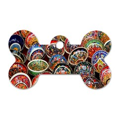 Colorful Oriental Bowls On Local Market In Turkey Dog Tag Bone (two Sides) by BangZart