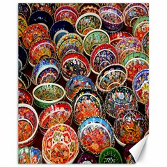 Colorful Oriental Bowls On Local Market In Turkey Canvas 11  X 14