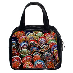 Colorful Oriental Bowls On Local Market In Turkey Classic Handbags (2 Sides)