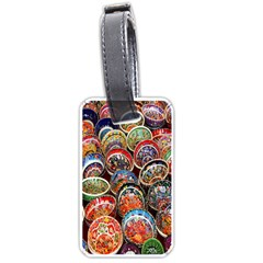 Colorful Oriental Bowls On Local Market In Turkey Luggage Tags (one Side)  by BangZart